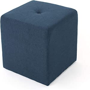 Christopher Knight Home Cayla Fabric Square Ottoman, Navy Blue