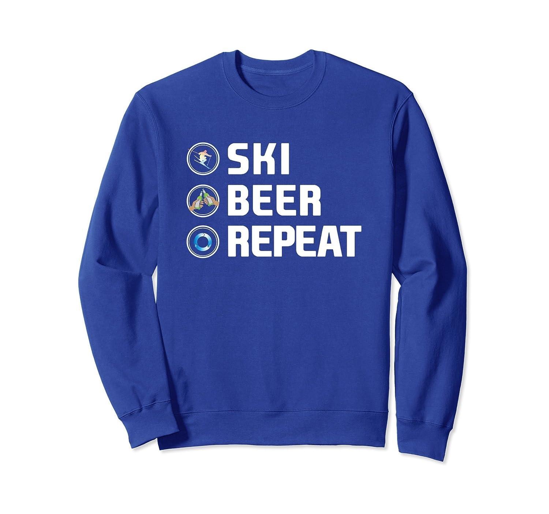 Vintage Ski Beer Repeat Funny Skiers Sweatshirt-TH