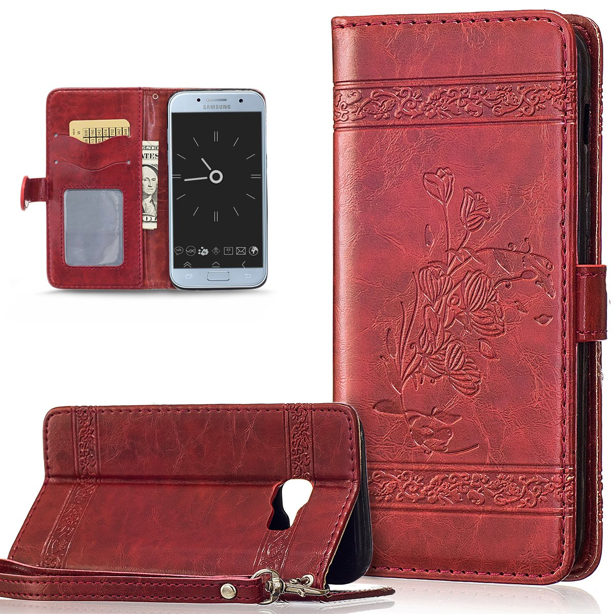 Coque Galaxy A3 2016, Etui Galaxy A3 2016, ikasus Coque Galaxy A3 2016 Bookstyle É tui Housse en Cuir Case, Embossing Motif Floral Flower Etui Housse [Stand Feature] Cuir PU Portefeuille Folio Flip Case Cover Wallet Coque Protection É tui ave