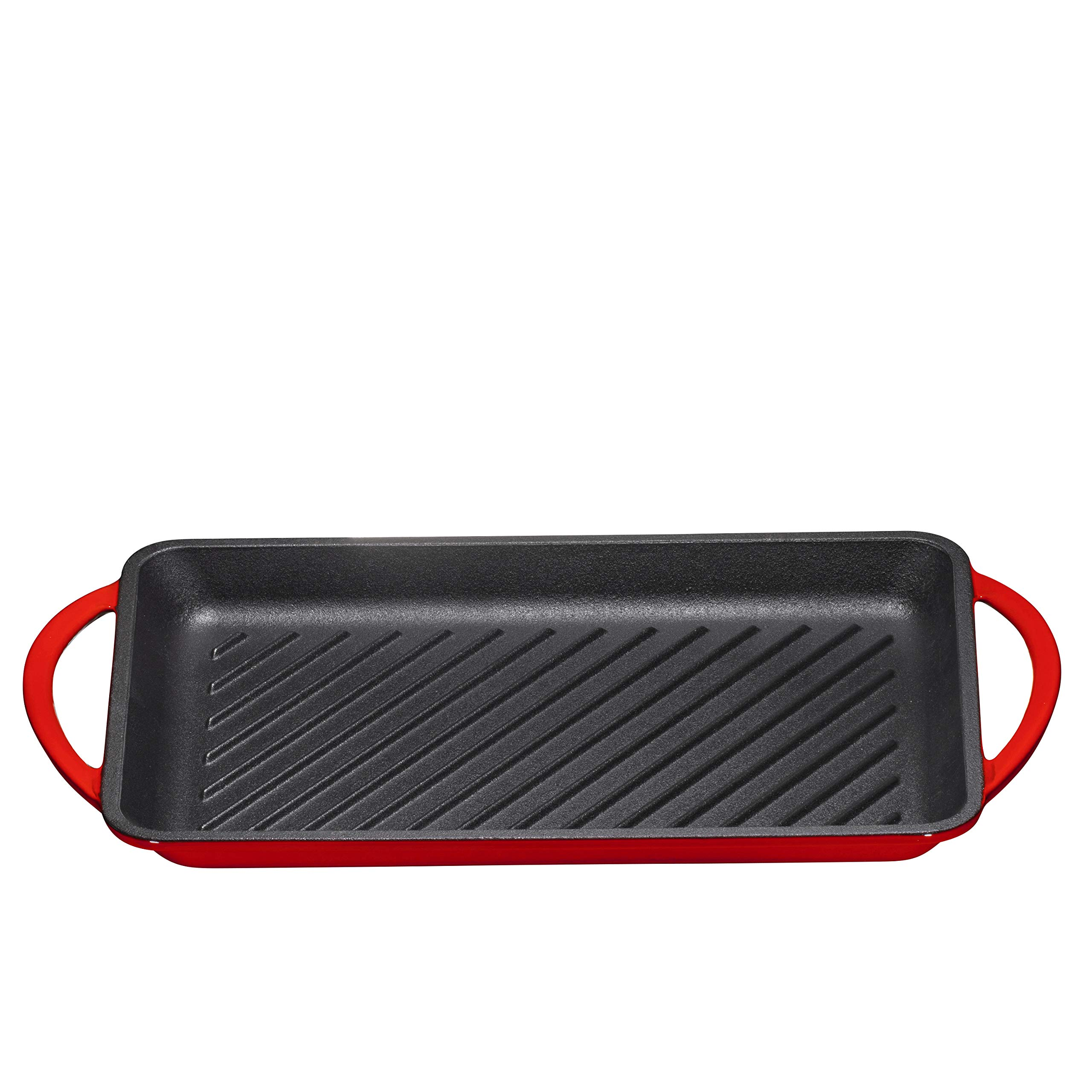 Enameled Cast-Iron Rectangular Grill Pan, Loop Handles, Fire Red, 9.5'' x 13.5'' by Bruntmor (Image #5)
