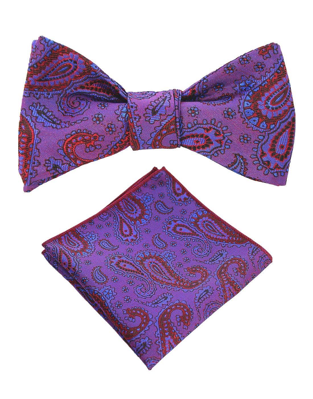 JEMYGINS Original Purple Paisley Mens Bowtie Self Bow Tie & Pocket Square Set (01#4) AG11
