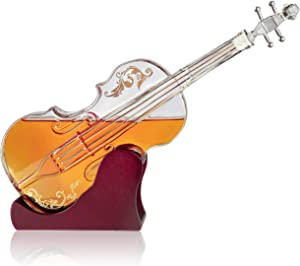 Glass Violin Decanter, Mahogany Base - The Wine Savant 1000 ML Glass Decanter For Whiskey, Scotch, Spirits, Wine Or Vodka For Music Lovers.