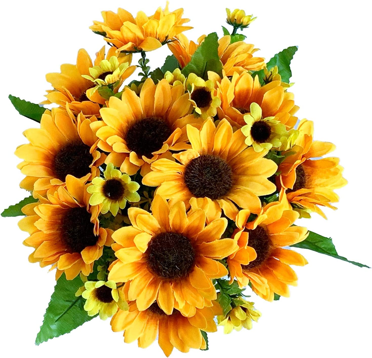 LAPONEE Artificial Sunflower Bouquet, 7 Flowers Per Bunch, 2 Bunches Per Pack - Fake Flowers for Wedding Decoration