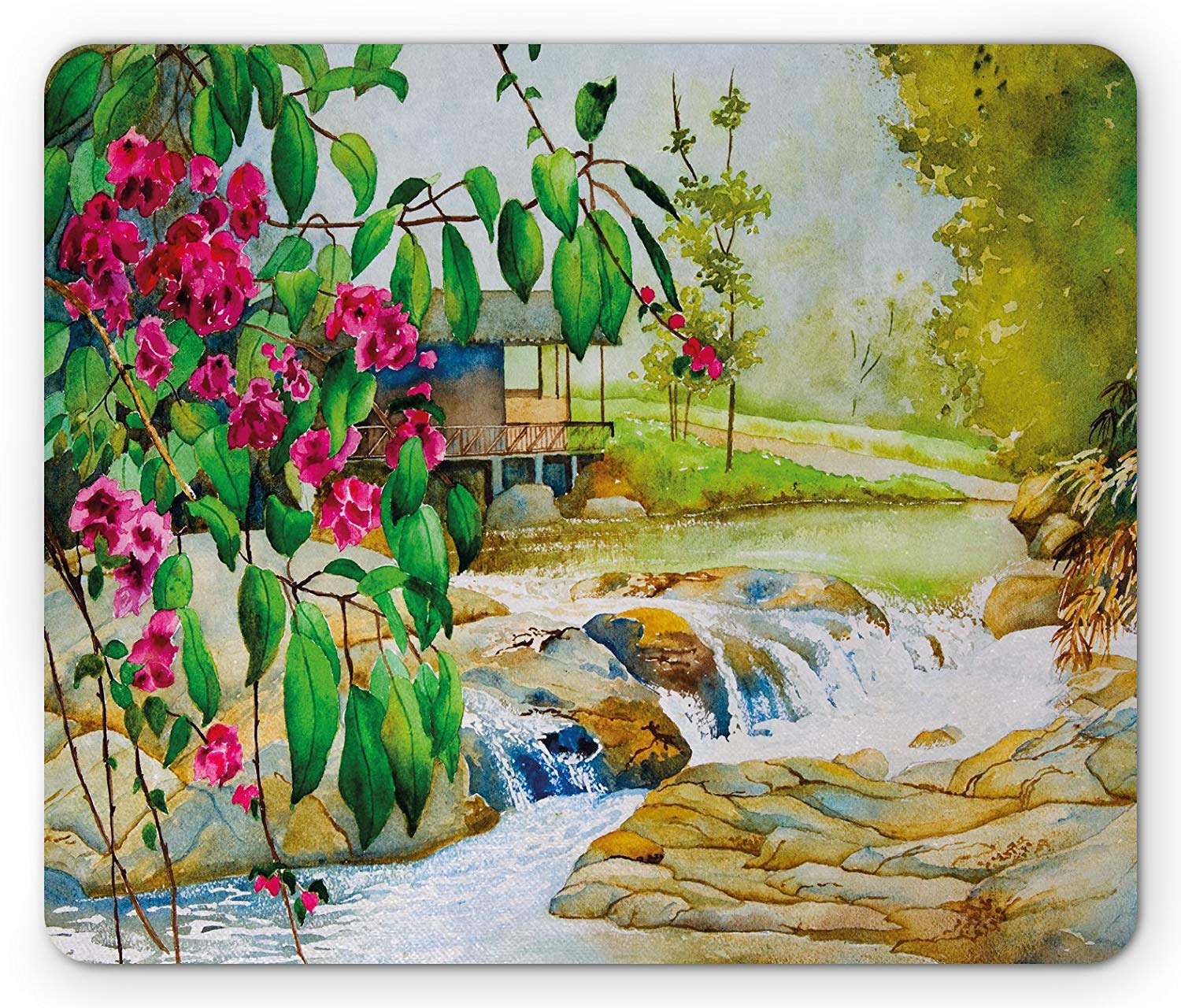 Amazoncom Landscape Mouse Pad Watercolor Painting Spring