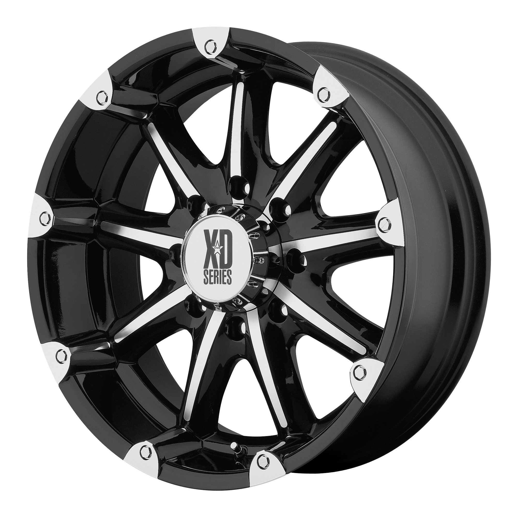 XD Series by KMC Wheels XD779 Badlands Gloss Black Wheel with Machined Accents (18x9''/8x165.1mm, +18mm offset) by XD Series by KMC Wheels (Image #1)