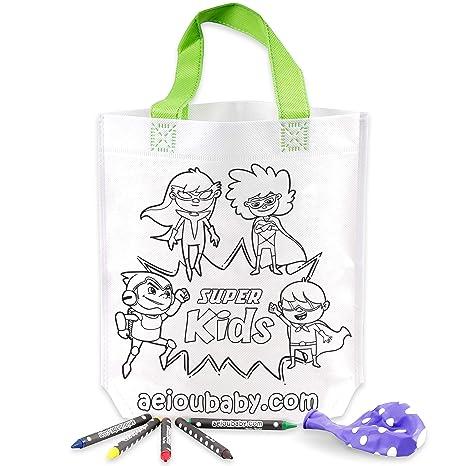 aeioubaby.com 25 Bolsas para Colorear + Bolsa Reutilizable | 25 Bolsas Individuales con 5 Ceras de Colores y Globo | Regalo niños Fiestas y cumpleaños