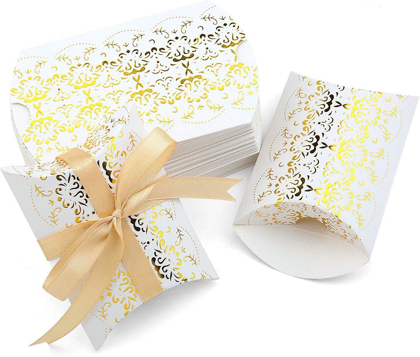 Vordas Welecoco Caja de Almohada de Papel de Dulces, 50 Piezas Cajas de Boda Candy, Almohada Cajas de Regalo, Caja de Regalo para Caramelos Regalo Bombones Dulce