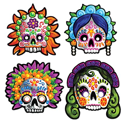 amazon com day of the dead masks 4 pkg childrens party favor