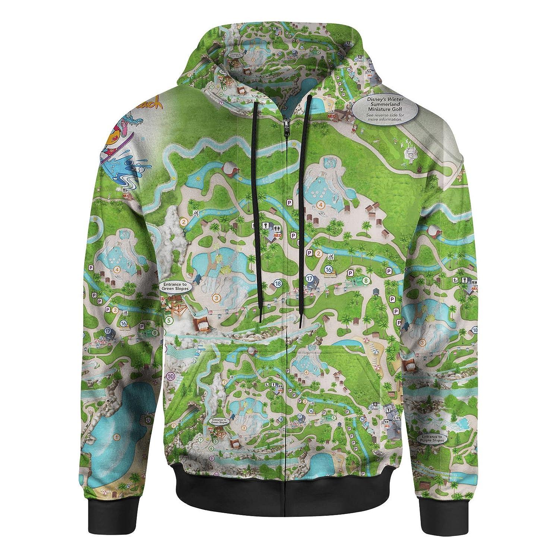 Blizzard Beach Map Men Zip Up Hoodie