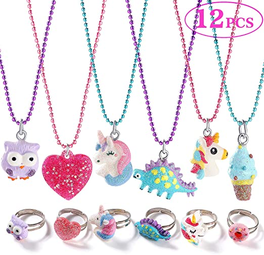 Set of 12 Assorted Colors Cute Toy Jewelry for Girls with Translucent Pendant Pretty Goodie Bag Fillers Unicorn Party Favors for Children ArtCreativity Unicorn Charm Necklaces for Kids