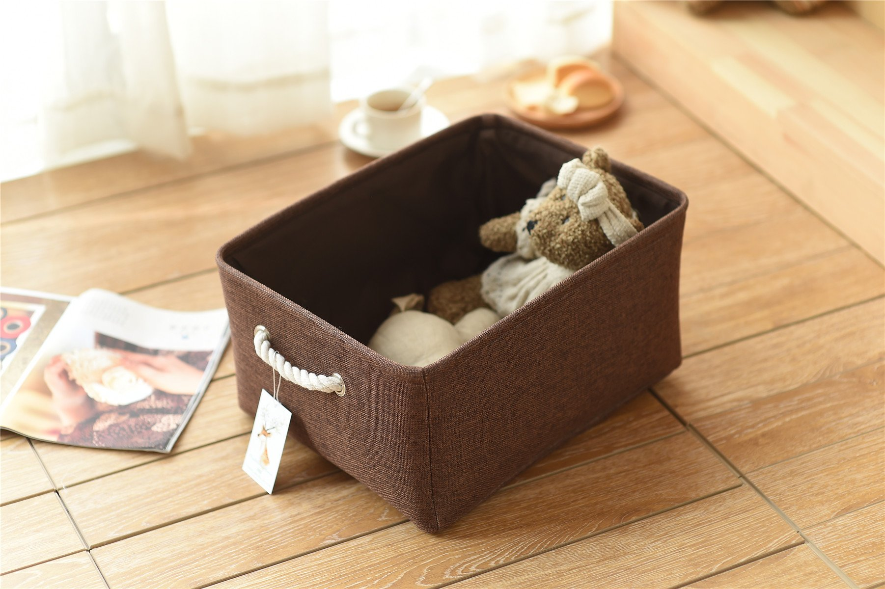 TheWarmHome Rectangle Fabric Storage Basket with Rope Handles Baskets for Shelves,Clothes Storage,Magazine Basket,Baskets for Gifts Empty,Linen Basket for Living Room,Brown by TheWarmHome