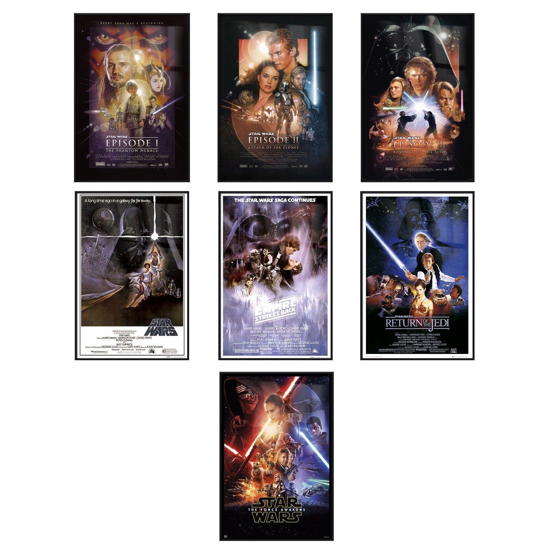 Star Wars Episode I, II, III, IV, V, VI & VII - Framed 7 Piece Movie Poster / Print Set (7 Regular Style Posters) (Size: 24'' x 36'' each)