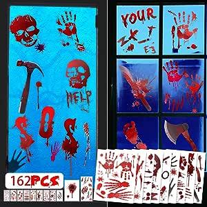 162 PCS Halloween Decorations Bloody Window Clings, Handprint Footprint Tattoo Stickers for Halloween Party Decor