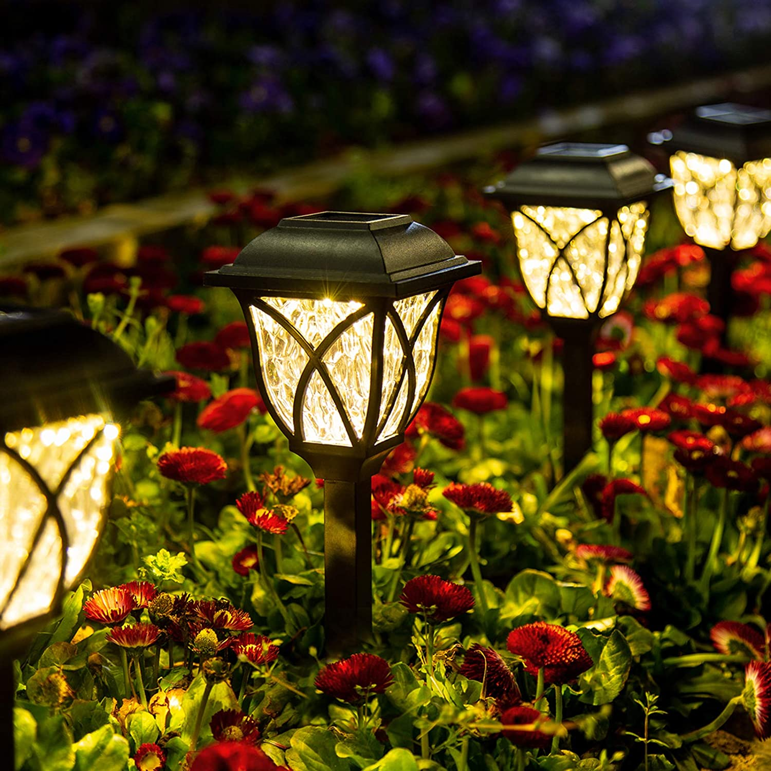 GIGALUMI Solar Pathway Lights Outdoor, 6 Pack LED Solar Landscape Lights, Waterproof Solar Powered Pathway Lights for Yard, Patio, Landscape, Walkway (Warm White)