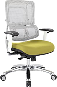 Office Star Breathable White Vertical Mesh Back and Padded Steel Mesh Seat Managers Chair with Adjustable Arms and Polished Aluminum Accents, Olive Seat