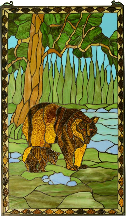 "20/"" x 34/"" Bear Mother and Son Handcrafted stained glass window panel"