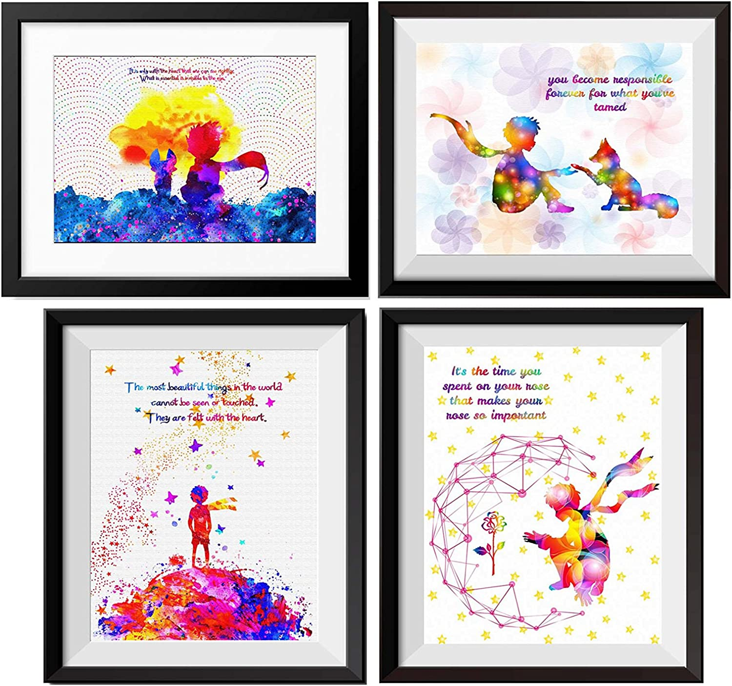 Uhomate 4 pcs Set The Little Prince Fox Le Petit Prince Little Prince Canvas Wall Art Baby Gift Inspirational Quotes Wall Decor for Living Room Decorations for Bedroom M028 (8X10)