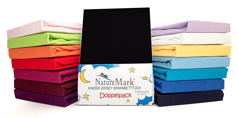 NatureMark 2 Pack de Ahorro Niños - Sábana Bajera Ajustable 100% algodón para Cama Infantil colchones Certificado Oeko-Tex, en Muchos Colores, Tela, Negro, ...