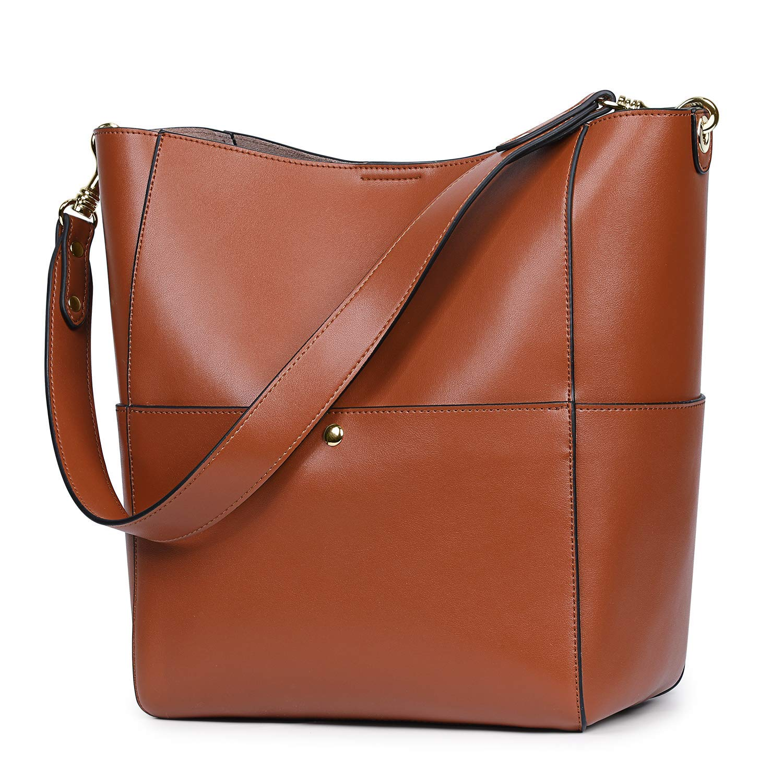 S-ZONE Women's Vintage Genuine Leather Bucket Tote Shoulder Bag Hobo Handbag Purse (Brown-Upgraded Version)