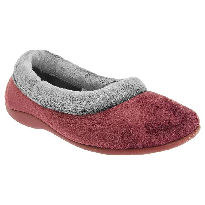 Amazon.com | Sleepers Womens/Ladies Julia Memory Foam Collar Slippers | Slippers