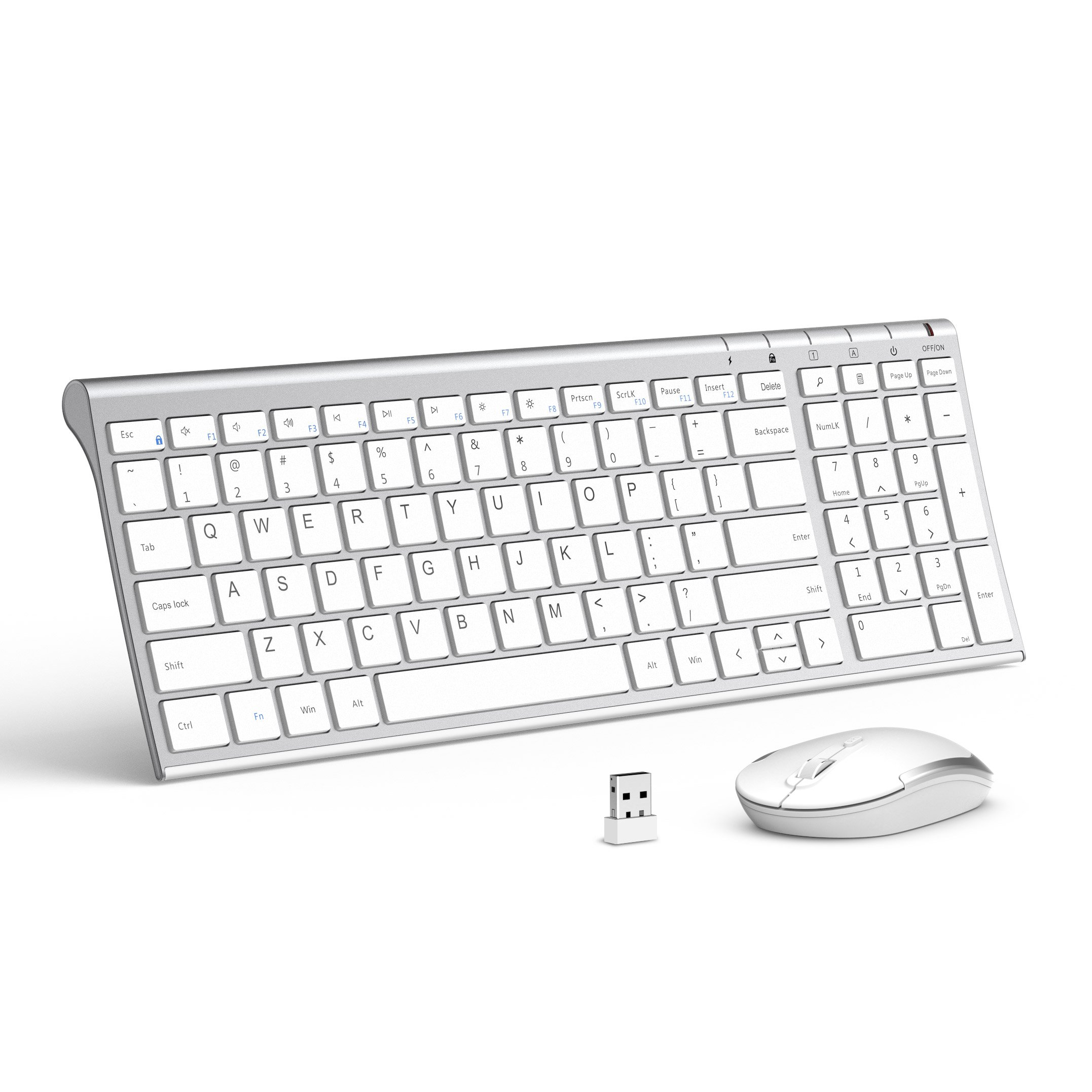 Wireless Keyboard Mouse, Jelly Comb 2.4GHz Ultra Slim Compact Full Size Rechargeable Wireless Keyboard and Mouse Combo for Laptop, Notebook, PC, Desktop, Computer, Windows OS - White and Silver