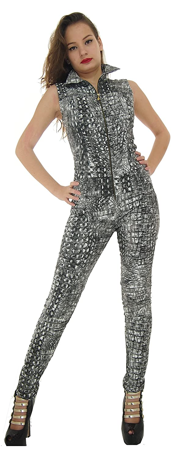 Amazon.com: LADIES GIRLS WOMENS QUALITY STRETCHY PRINTED BODY-HUGGING JUMPSUIT OVERALL: Clothing