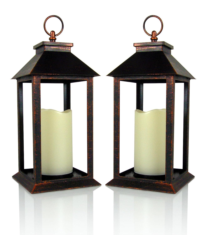 Brushed Brass Flameless LED Pillar Candle Lanterns - Set of 2