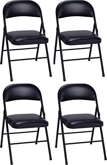 Amazon Com Cosco Vinyl Commercial Padded Folding Chair 4 Pack Black 14993blk4e Furniture Decor