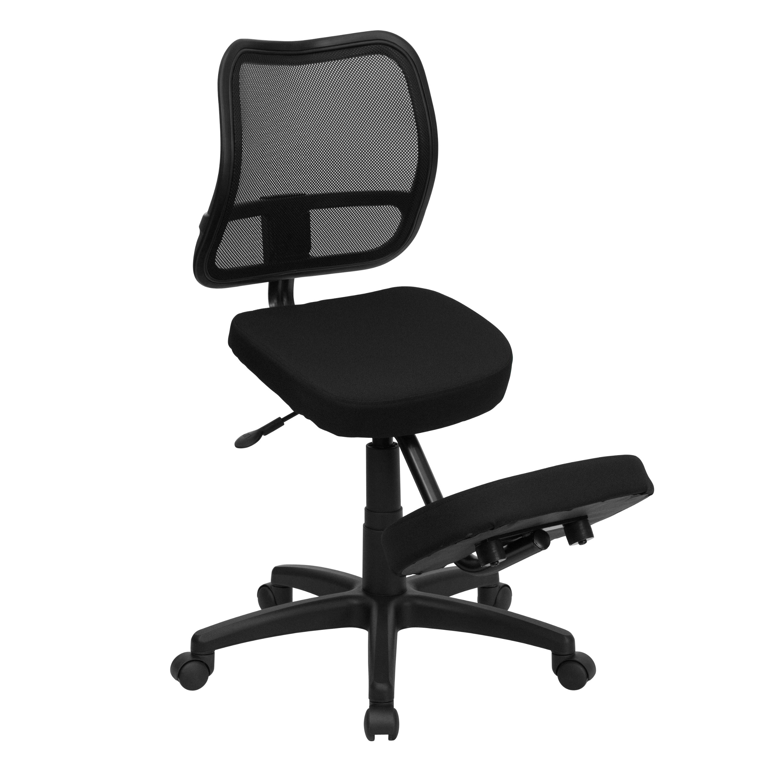 MFO Mobile Ergonomic Kneeling Task Chair with Black Curved Mesh Back and Fabric Seat