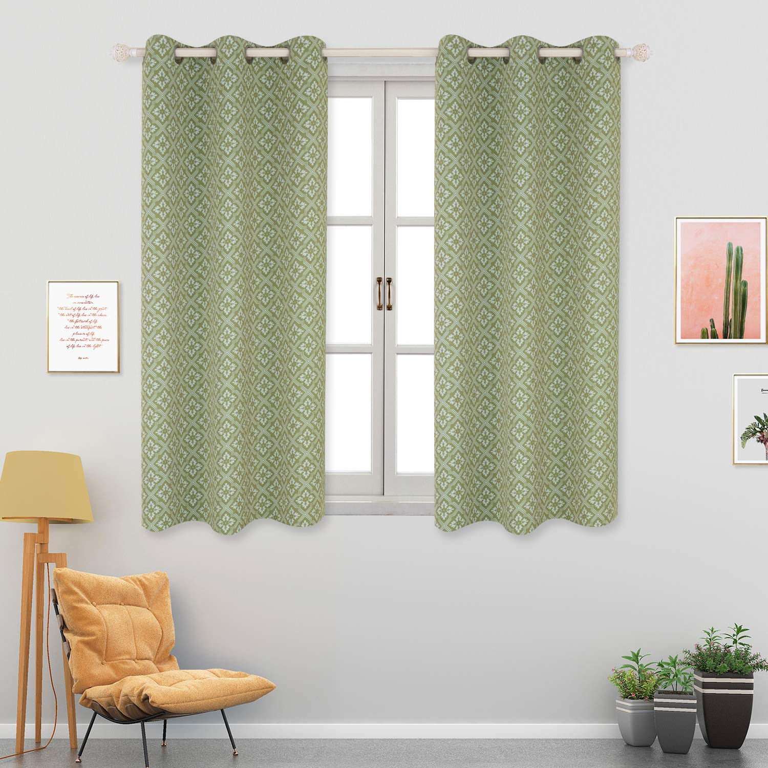 52 x 63 Inch, Green BGment Moroccan Printed Blackout Curtains for Bedroom Grommet Thermal Insulated Room Darkening Lattice Floral Curtains for Living Room Set of 2 Panels