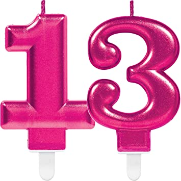2 x Número velas * Número 13 * en rosa//11 cm x 9 cm Grande ...
