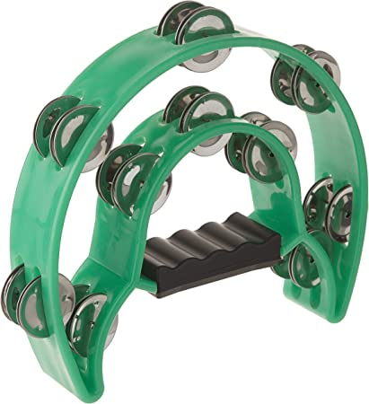 Foraineam 2 Pieces 9 Half Moon Handheld Tambourine Double Row 20 Pairs Jingles Musical Percussion Red
