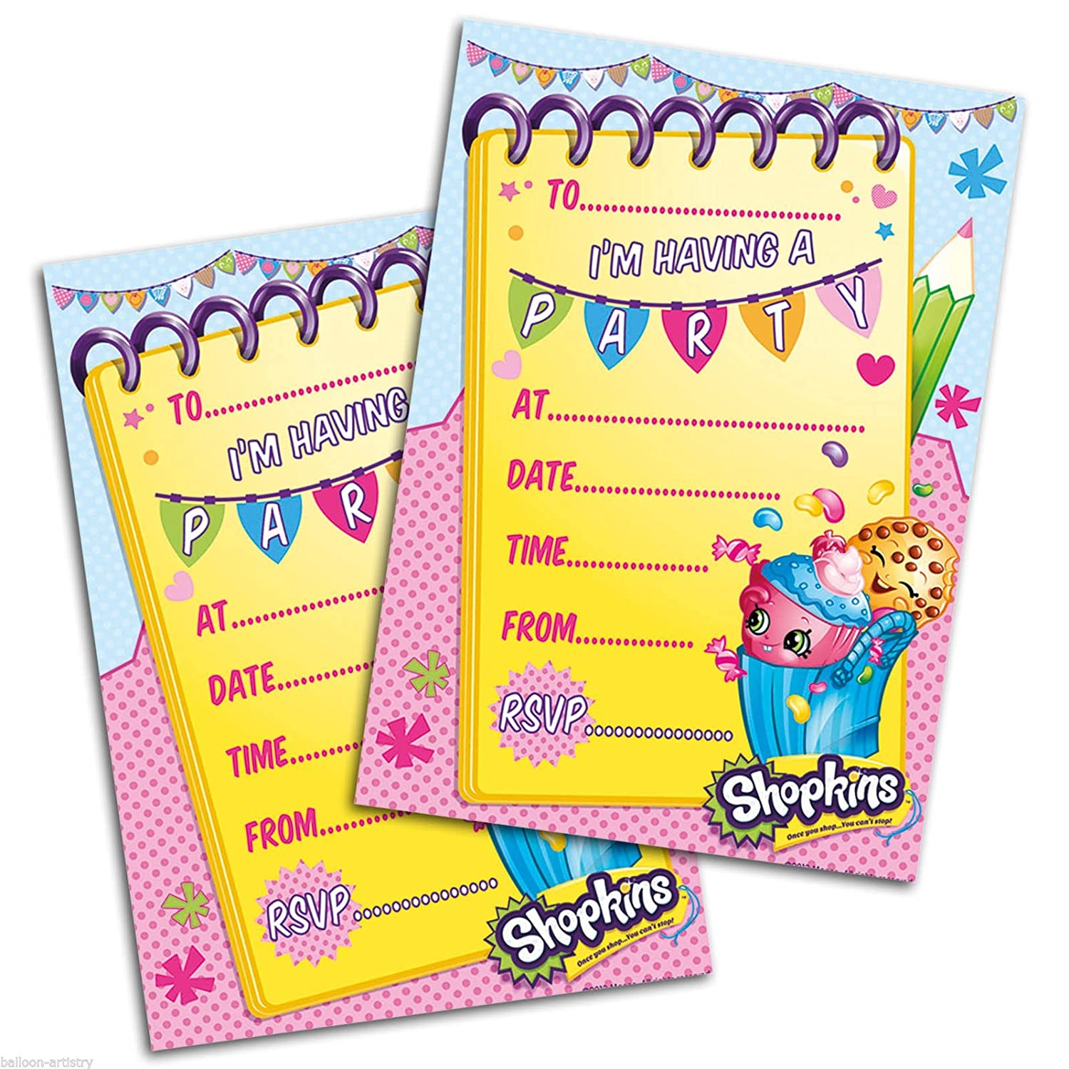 Amazoncom Shopkins Pack Of 20 Party Invites With Envelopes Toys