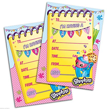 Amazon.com: Shopkins Pack Of 20 Party Invites With Envelopes: Toys ...