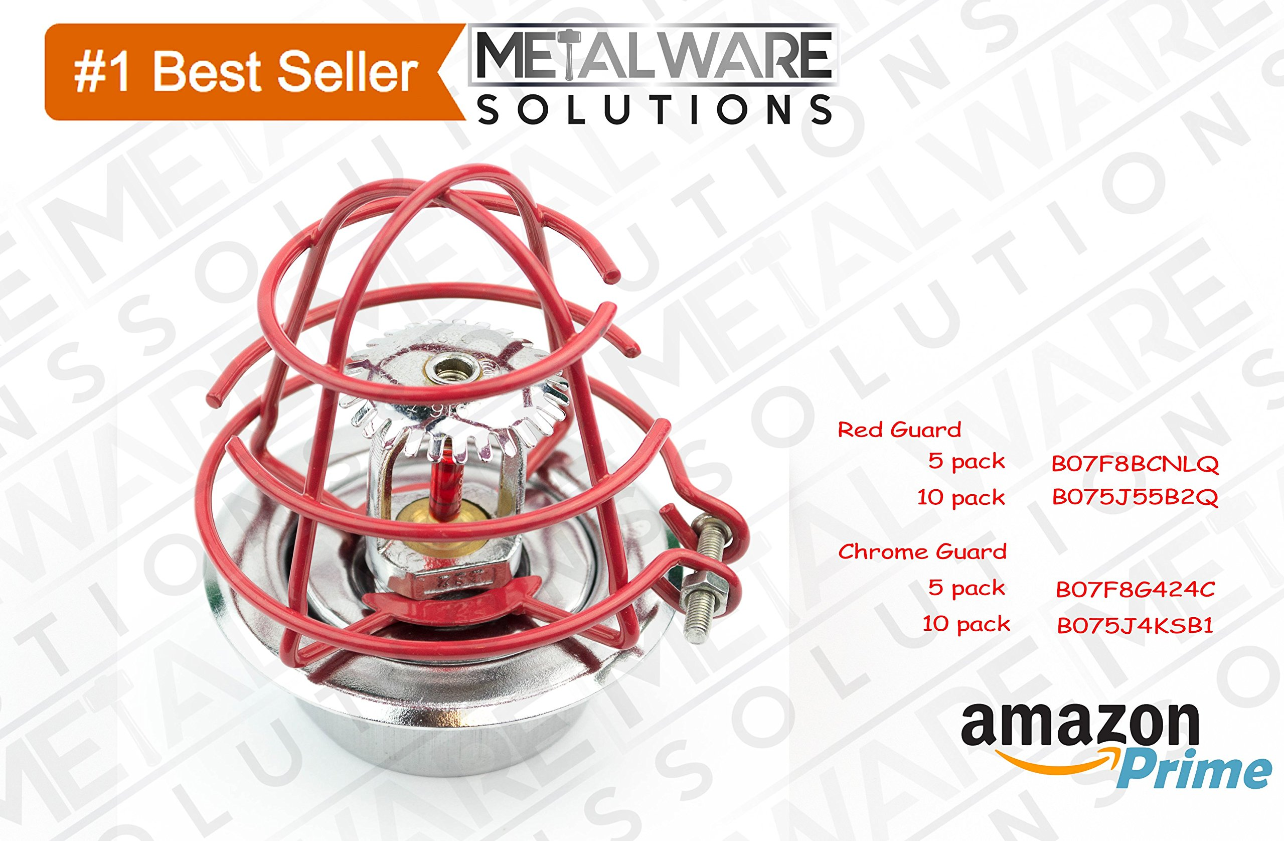 5 Pack - Metalware Solutions Red Fire Sprinkler Head Guard with Easy Screw Cover for 1/2'' IPS Head by Metalware Solutions (Image #3)