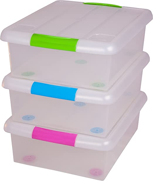 Caja de plastico de la Marca Iris con Asas y Tapa para Almacenamiento