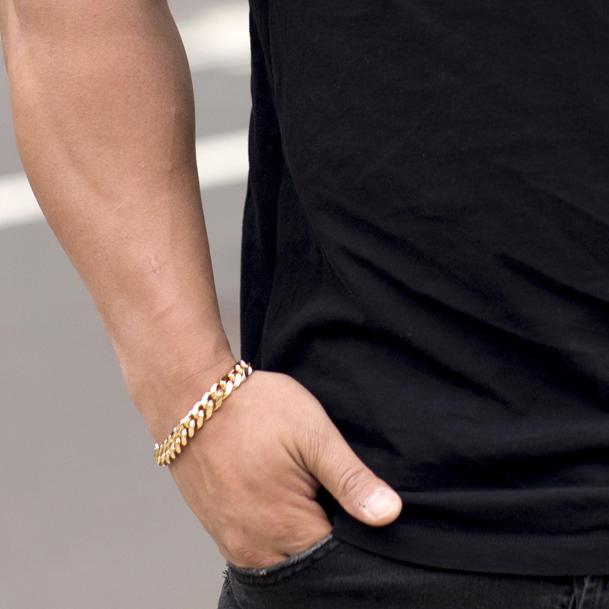 Lifetime Jewelry Cuban Link Bracelet 11MM, Round, 24K Gold Overlay Premium Fashion Jewelry, Guaranteed Life, 8 inches by Lifetime Jewelry (Image #2)
