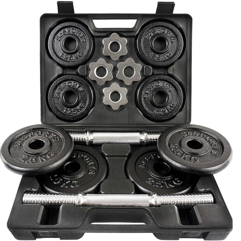 1dea7178891c2 ScSPORTS 20 kg Hantelset mit Koffer 2x Kurzhanteln 30 mm und 8  Hantelscheiben (4x 2