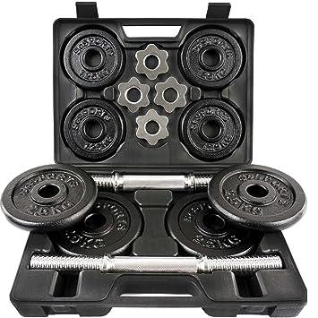 ScSPORTS - Juego de mancuernas (2 barras, 4 discos de 2,5 kg, 4 discos de 1,25 kg, maletín incluido): Amazon.es: Deportes y aire libre