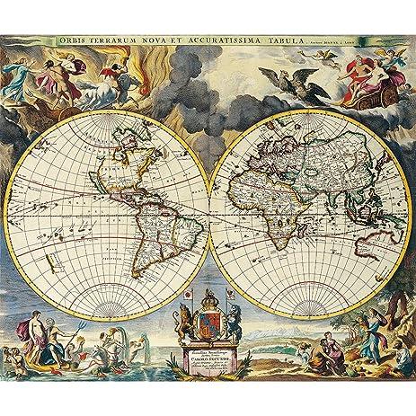 Amazon meishe art vintage style world map poster print antique meishe art vintage style world map poster print antique home wall decor nautical chart gumiabroncs Choice Image