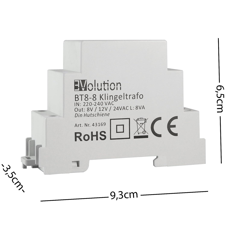 Evolution BT8-8 Klingeltrafo 8V 12V 24V 8VA Trafo Klingeltransformator T/ürklingel Klingel Gong