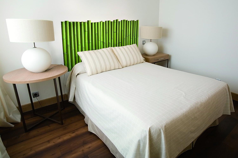 Tête de lit Adhésive BAMBOUS Autocollant, Polyester, Vert, 160 x 0.1 x 60 cm