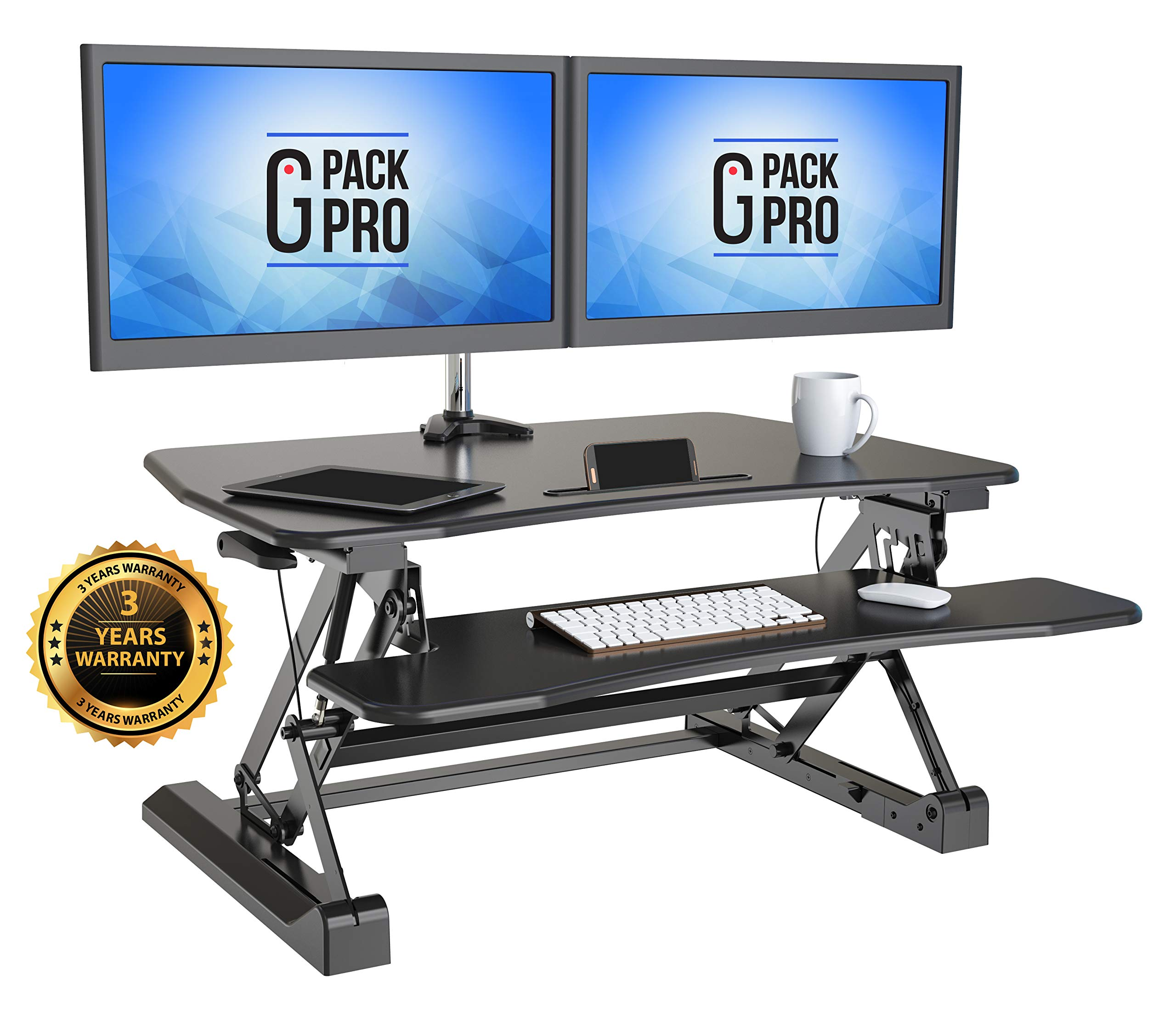 G-PACK PRO - Desktop Standing Desk Converter | Sit-To-Stand Work Desk Riser | Adjustable from 5.7'' to 19.7'' | Fits Dual Monitor -Removable Keyboard Tray | Ergonomically Designed for Multipurpose Works by G-Pack Pro