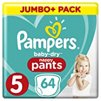 Pampers Baby-Dry 64 Nappy Pants, Easy-On with Air Channels for Up to 12 Hours of Breathable Dryness, Size 5, 12-17 kg