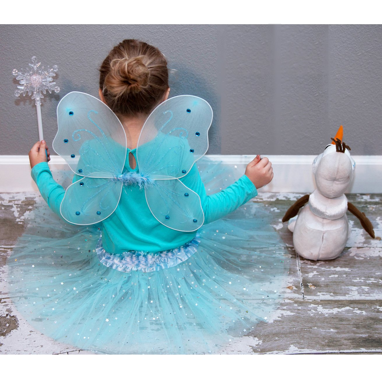 Frozen Inspired Fairy Princess Set Light Up Snowflake Wand Let It Go Band by Lilly and the Bee Novelties (Image #2)