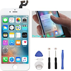 White Replacement LCD Screen Compatible with iPhone 6S Plus 5.5 Inch Display Digitizer Assembly Full Complete Front Glass with Repair Tools