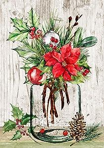 "Texupday Mason Jar Pine Needle Poinsettia Decoration Winter Garden Flag Outdoor Yard Flag 12"" x 18"""