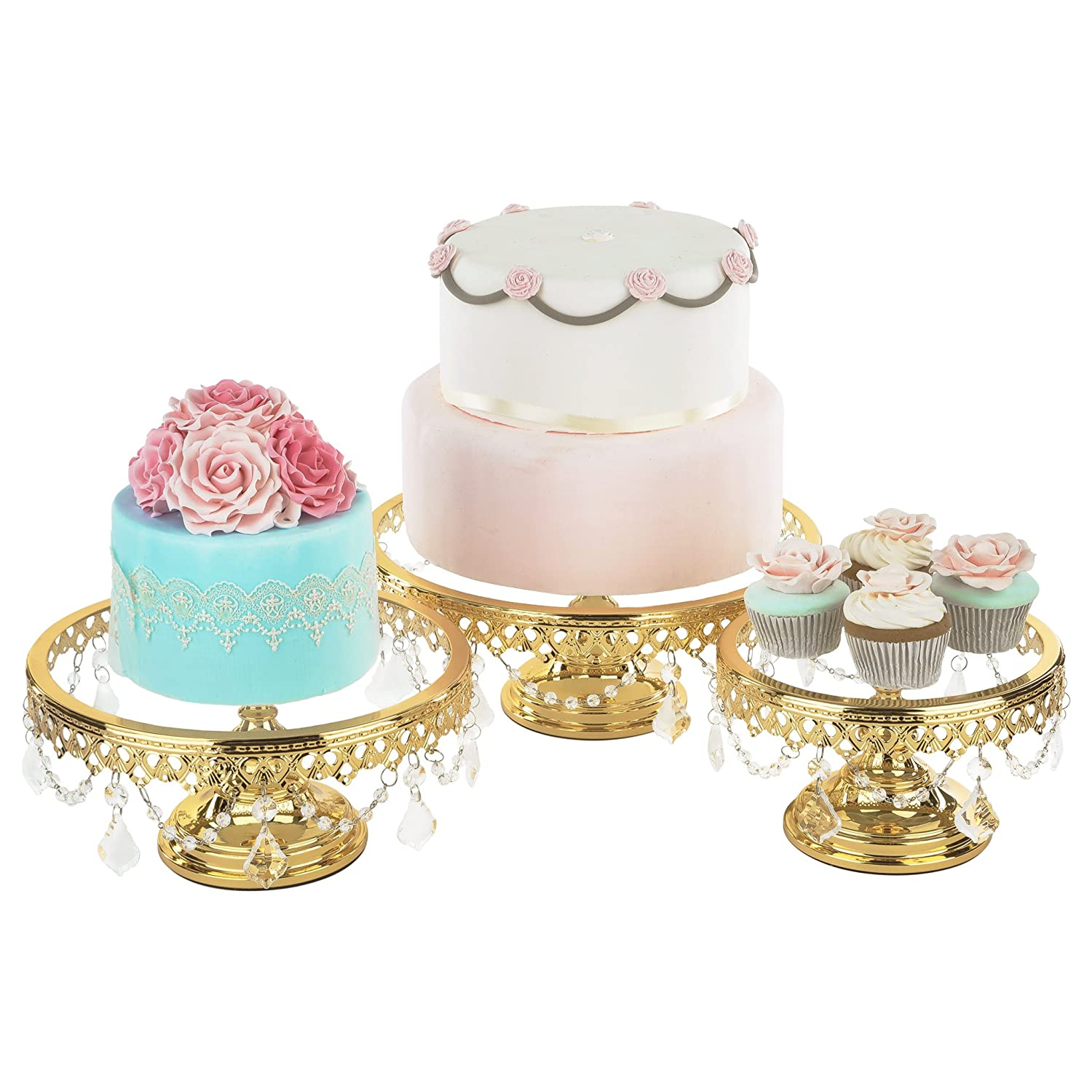 Amazon.com | Gold Plated Glass Top Cake Stand Set of 3, Round Gloss ...