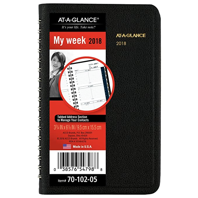 amazoncom at a glance weekly appointment book planner january 2018 december 2018 3 34 x 6 18 pocket size black 7010205 office products