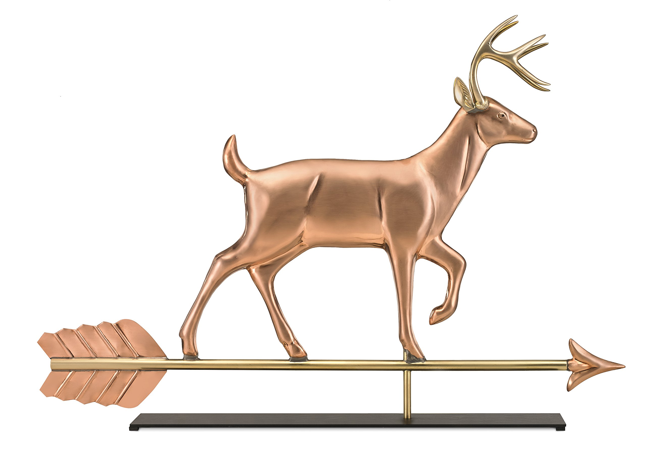 Good Directions White Tail Buck Pure Copper Weathervane Sculpture on Mantel Stand: Home Décor